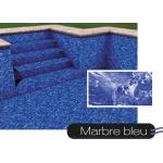 Liner piscine 75/100ème imprimé - marbré bleu