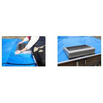 Découpe échelle bloc filtration bâche à barres
