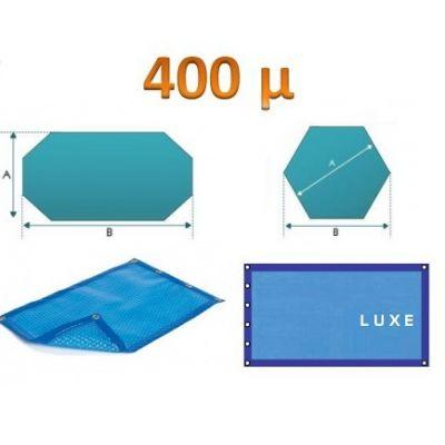 Bâche àbulle luxe 400 µ octogonale bleu/bleu