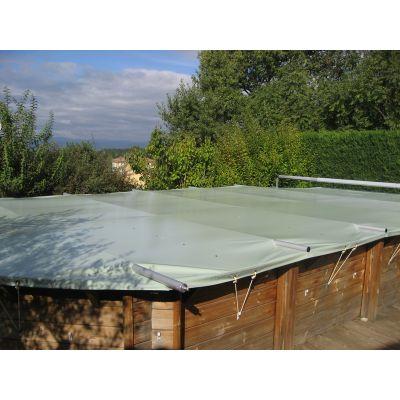 bâche à barres piscine bois Coverwood sur mesure