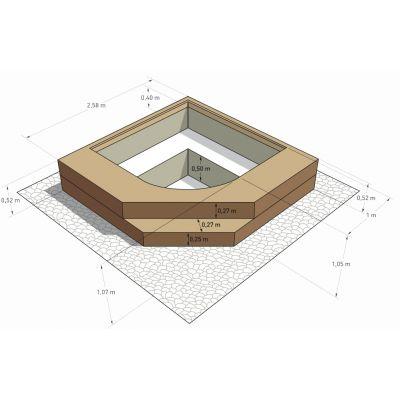 Spa en kit béton carré Palermo 2.58 x 2.58 m