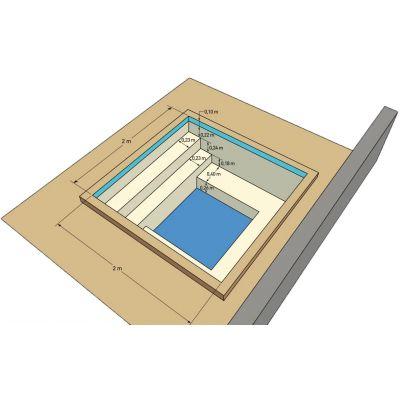 Spa en kit béton carré Messina 2 x 2 m