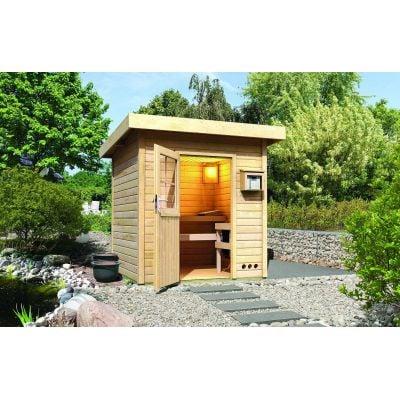 Sauna extérieur toit plat Torge brut - Karibu