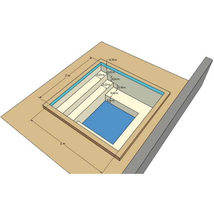 Spa en kit béton carré Messina 2 x 2 m - Distripool