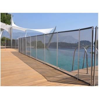 Clôture piscine FILET BEETHOVEN noir + poteaux alu
