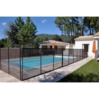 Clôture piscine FILET BEETHOVEN noir + poteaux noirs