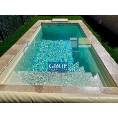 Margelle piscine en travertin