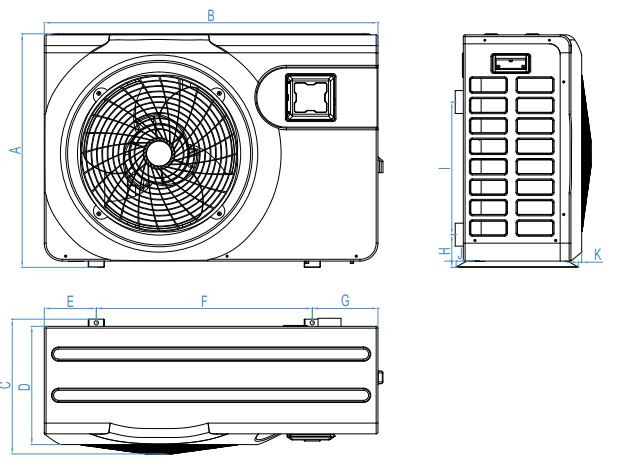 dimensions pompa chaleur jetline selection