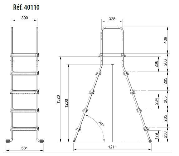echelle pour piscine hors sol nf plateforme distripool. Black Bedroom Furniture Sets. Home Design Ideas