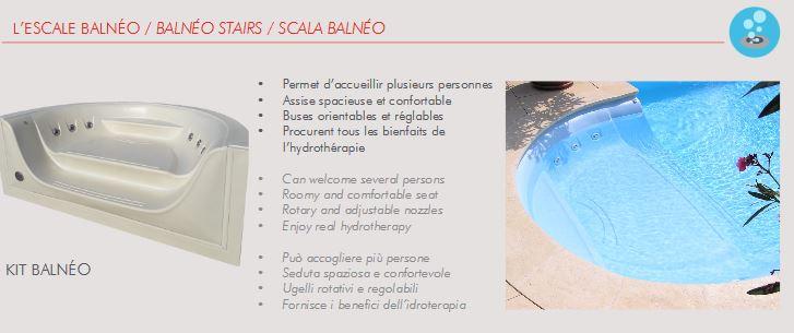 escalier acrylique red pool balneo