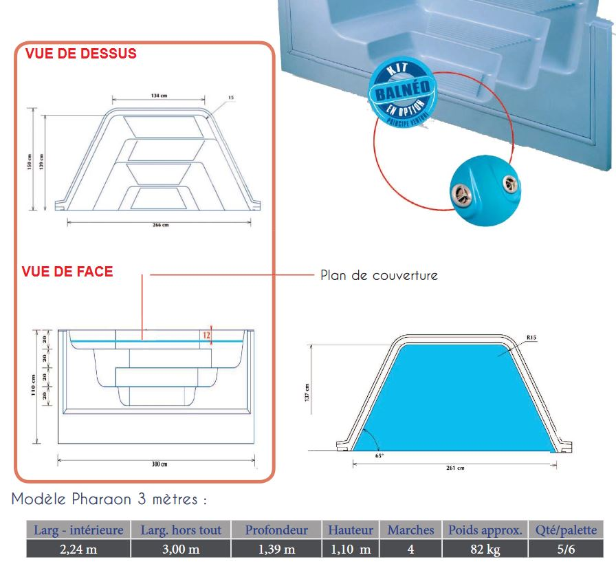 plan escalier pharaon 3.00 m 4 marches  RED POOL