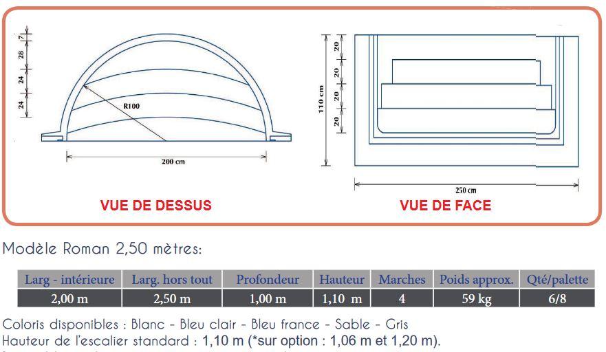 plan escalier roman 2.50 m 4 marches H 1.50 m RED POOL
