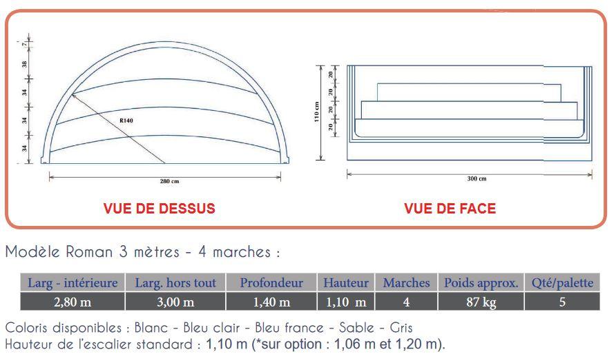 plan escalier roman 3 m 4 marches RED POOL