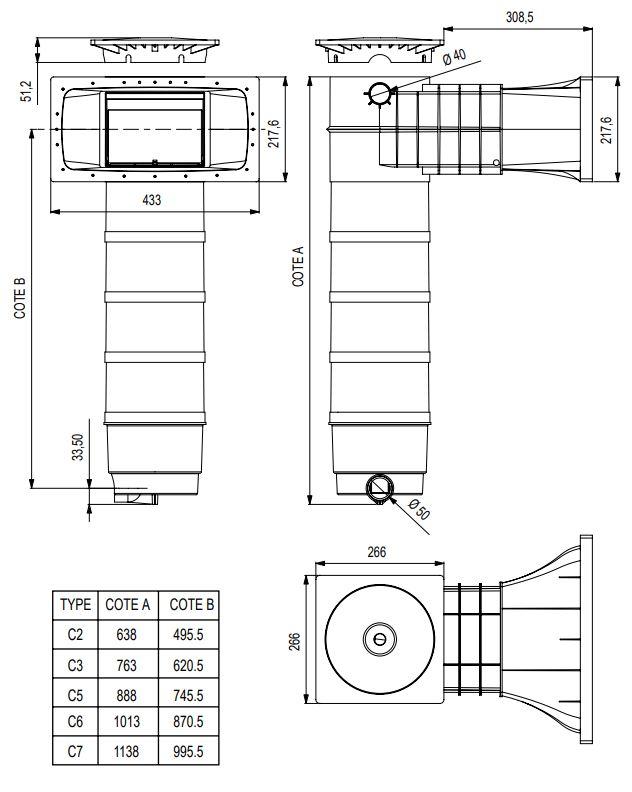 dimensions skimfiltre elegance liner Weltico