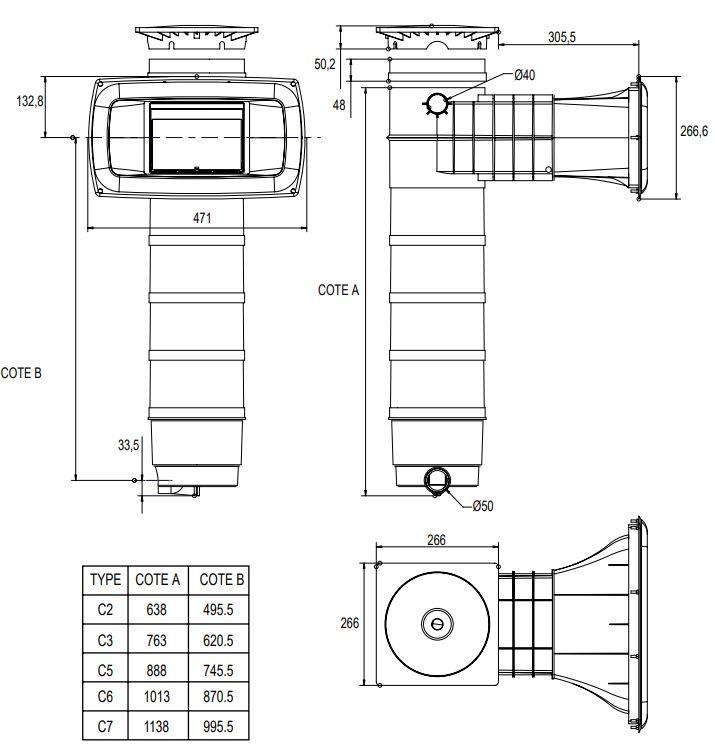 dimensions skimfiltre elegance panneau Weltico