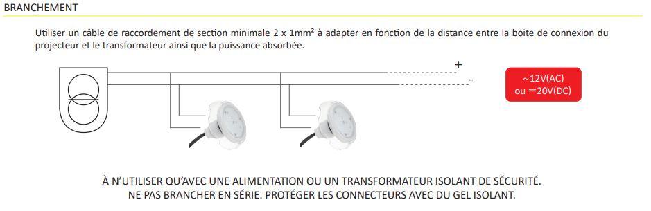 branchement mini projecteur LED piscine Seamaid