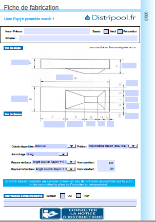 liner rectangulaire PYRAMIDE P1 avec marche