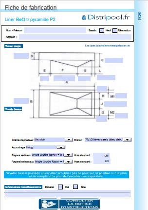 liner rectangulaire PYRAMIDE P2 avec marche