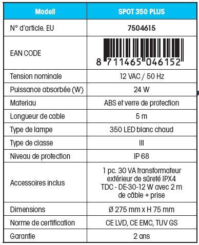 Fiche technique spot LED 350 BLANCHE ubbink