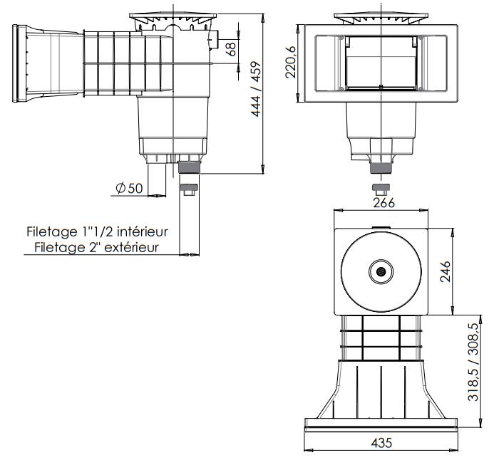 dimensions skimmer Weltico A-400 liner