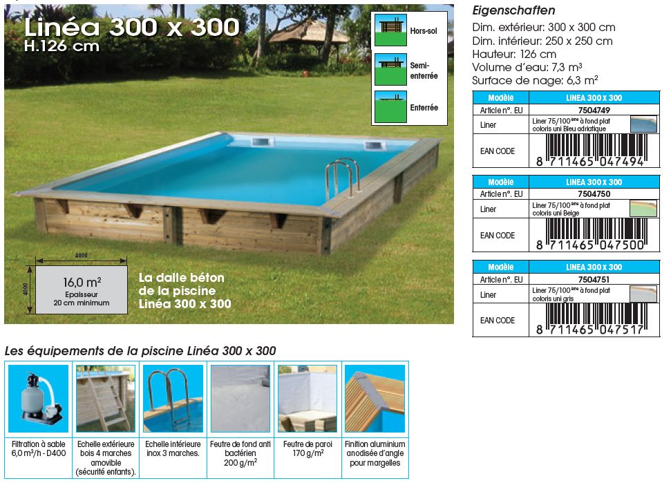 fiche technique piscine bois LINEA 300 x 300 x 126 cm