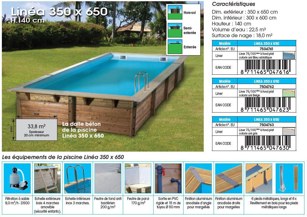 fiche technique piscine bois LINEA 350 x 650 x 140 cm