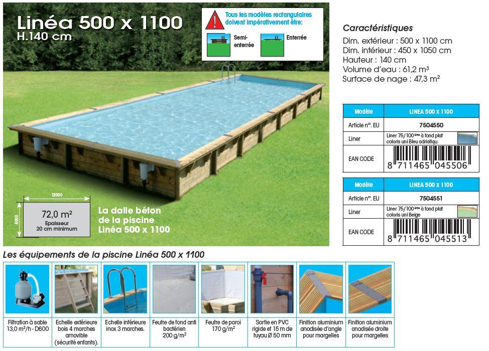 fiche technique piscine bois LINEA 500 x 1100 x 140 cm