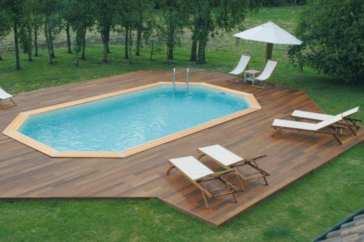 piscine bois ocea 400 x 610 x 130 cm composite