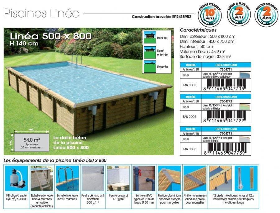 fiche technique piscine bois LINEA 500 x 800 x 140 cm