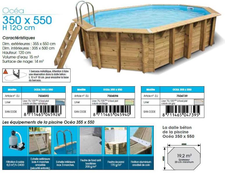 fiche technique piscine bois ubbink OCEA 350 x 550