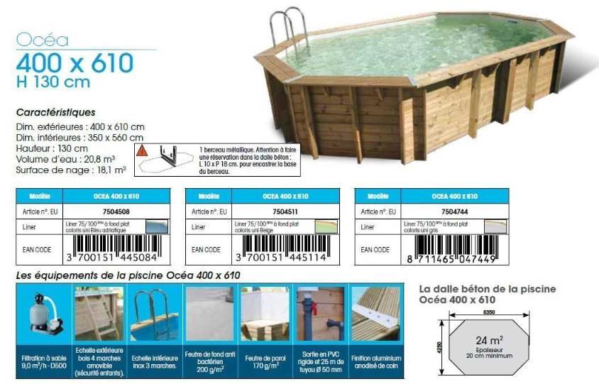fiche technique piscine bois ubbink OCEA 400 x 610