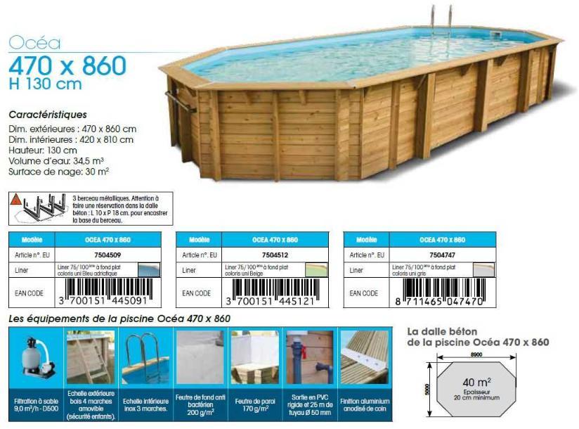 fiche technique piscine bois ubbink OCEA 470 x 860