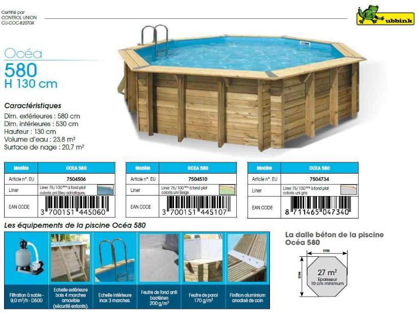 fiche technique piscine bois ubbink OCEA 580