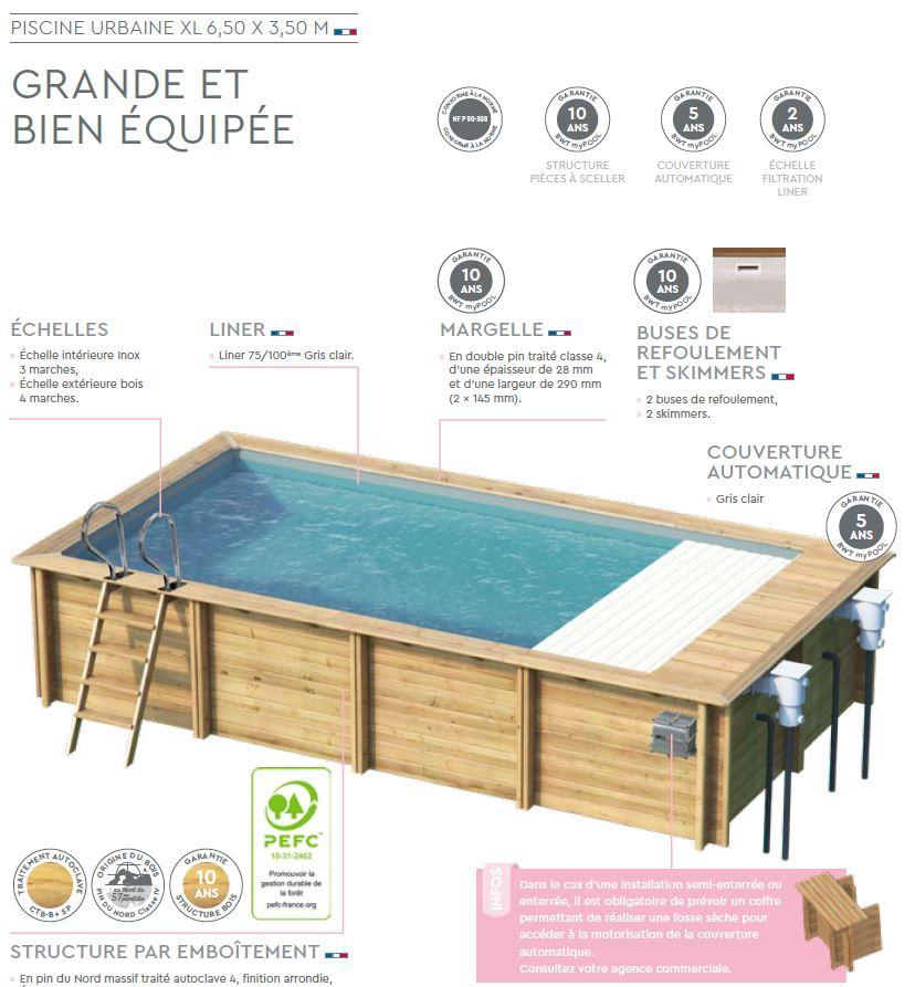 fiche technique piscine bois URBAINE XL