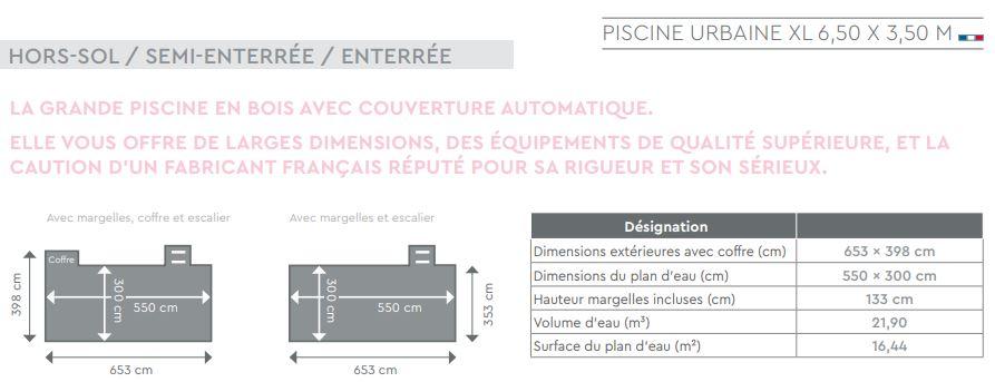 piscine bois urbaine XL plan dimensions
