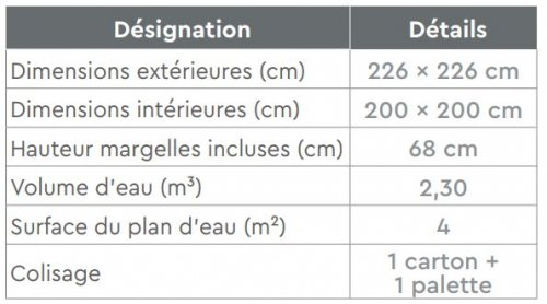 dimensions piscine bois TROPIC JUNIOR
