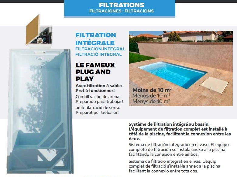 filtration integree piscine polyester GRAF