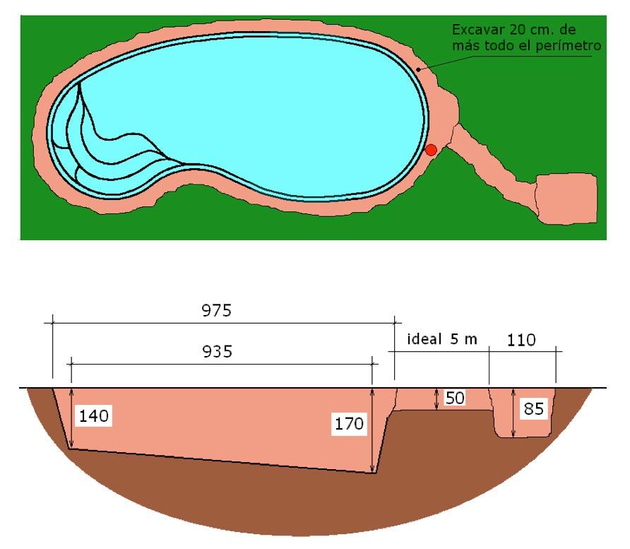 piscine-coque-graf-95-local technique-terrassement