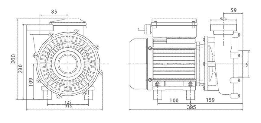 dimensions pompe solubloc bi vitesse