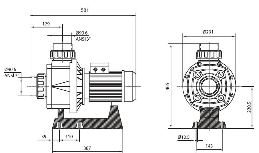 dimensions pompe HCP 1000