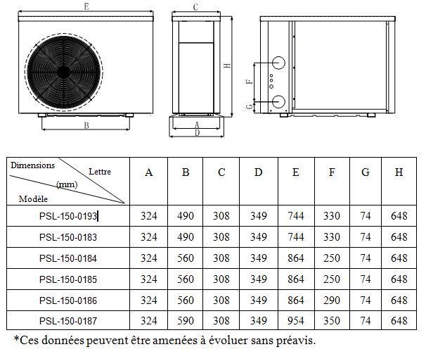 pac poolstyle dimensions PAC