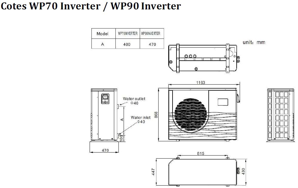 dimensions PAC inverter Warmpool B