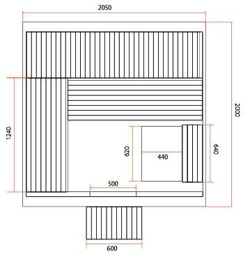 dimensions sauna OMEGA