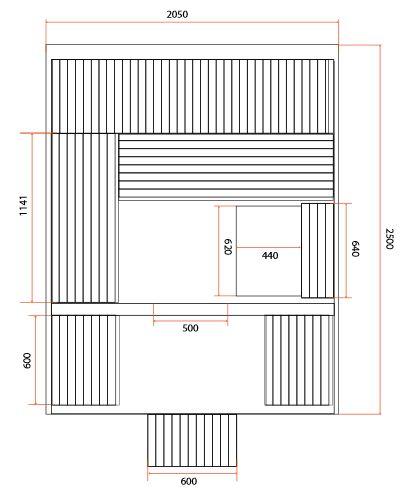 dimensions sauna ROSSA